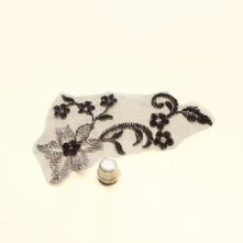 Small Black and Silver Embroidered Tulle Lace Motif